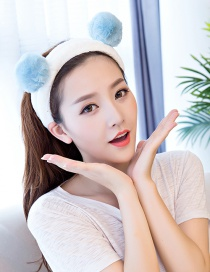 Cute Blue Fuzzy Ball Decorated Washing Face Hair Band