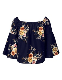 Fashion Navy Flower Pattern Decorated Pure Color Long Sleeve Shirt