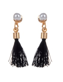 Vintage Black Tassel Decorated Earrings