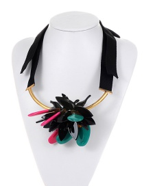 Exaggerate Multi-color Flower Decorated Necklace