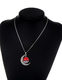 Fashion Red+white Moon& Poke Ball Decorated Necklace