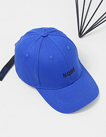 Fashion Blue Embroidery Letter Decorated Pure Color Cap