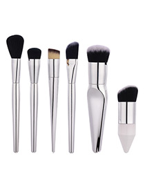 Fashion Silver Color Pure Color Decorated Brush (6pcs)
