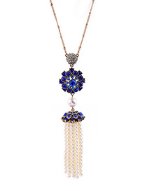 Vintage Blue Tassel Decorated Necklace