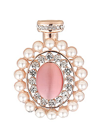Fashion Pink Pearl&diamond Decorated Bottle Shape Simple Brooch