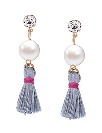 Fashion Gray Pearl&diamond Decorated Tassel Pure Color Earrings