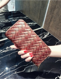 Fashion Bronze Pure Color Decorated Weave Shape Wallet