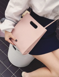Fashion Pink Square Shape Decorated Pure Color Wallet