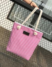 Fashion Plum Red Stripe Pattern Decorated Pure Color Shoulder Bag