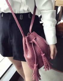 Vintage Red Tassel Decorated Pure Color Shoulder Bag
