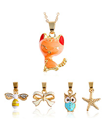 Fashion Gold Color Star&owl&bee Shape Decorated Pure Color Necklace