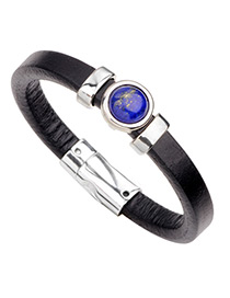 Fashion Black Circular Ring Shape Decorated Pure Color Bracelet