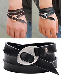 Fashion Black+silver Color Rivet&buckle Decorated Multi-layer Pure Color Bracelet