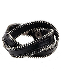 Fashion Black Zipper Shape Decorated Pure Color Bracelet