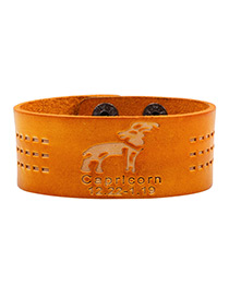 Fashion Orange Capricorn Pattern Decorated Simple Constellation Bracelet