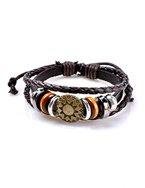 Fashion Coffee Sun Shape Decorated Multi-layer Simple Bracelet