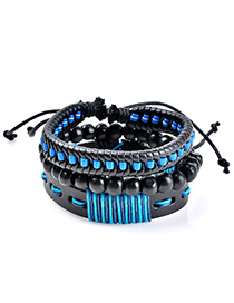 Fashion Black+blue Bead Decorated Multi-layer Simple Bracelet