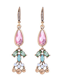 Elegant Multi-color Oval Diamond Decorated Color Matching Earrings