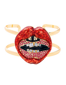 Personalized Red Lip Shape Decorated Double Layer Bracelet