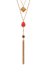 Fashion Gold Color Long Tassel Decorated Multi-layer Necklace