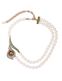 Fashion White Pearls&flower Decorated Double Layer Necklace