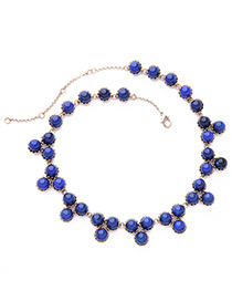 Vintage Blue Diamond Decorated Pure Color Necklace