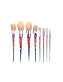 Trendy Multi-color Color Matching Decorated Makeup Brush(8pcs)