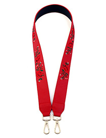 Fashion Red Embroidery Flower Pattern Decorated Bag Strap
