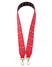 Fashion Red Rivets Decorated Simple Width Bag Strap