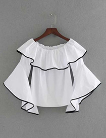Fashion White Pure Color Decorated Flare Sleeves Blouse