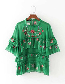 Fashion Green Embroidery Flower Decorated Short Sleeves Blouse