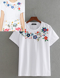 Fashion White Embroidery Flower Decorated Simple Shirt