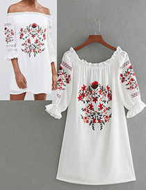 Fashion White Embroidery Flower Decorated Simple Dress