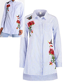 Fashion Blue+white Embroidery Flower&butterfly Simple Shirt