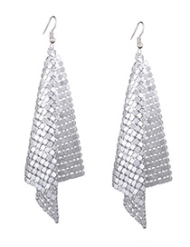 Fashion Silver Color Sequins Decorated Pure Color Simple Earrings