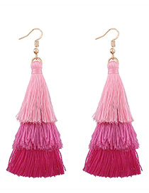 Fashion Pink Tassel Decorated Color Mathing Simple Earrings