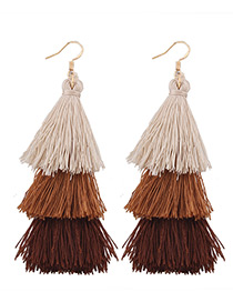 Fashion Brown Tassel Decorated Color Mathing Simple Earrings