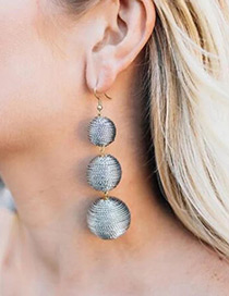 Fashion Silver Color Balls Shape Decorated Pure Color Earrings
