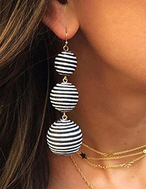 Fashion White+black Balls Shape Decorated Pure Color Earrings