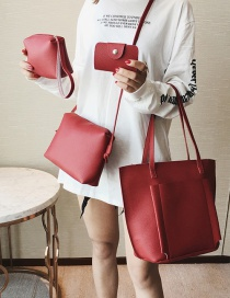 Fashion Red Pure Color Decorated Shoulder Bag(4pcs)