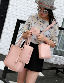 Fashion Pink Tassel Decorated Pure Color Shoulder Bag(4pcs)