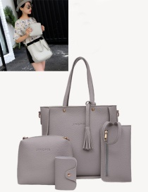 Fashion Gray Tassel Decorated Pure Color Shoulder Bag(4pcs)