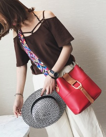 Fashion Red Colored Ribbon Decorated Shoulder Bag(2pcs)
