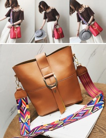 Fashion Brown Colored Ribbon Decorated Shoulder Bag(2pcs)