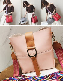Fashion Pink Colored Ribbon Decorated Shoulder Bag(2pcs)