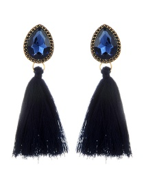 Elegant Navy Waterdrop Shape Decorated Tassel Earrings