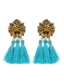 Personality Green Lion Shape Decorated Tassel Earrings