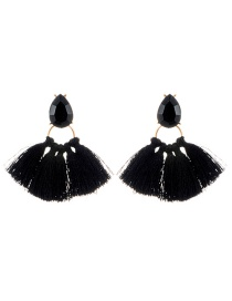 Bohemia Black Waterdrop Shape Decorated Tassel Earrings