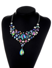 Elegant Purple Waterdrop Shape Decorated Necklace
