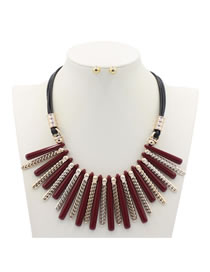 Vintage Red Color-matching Decorated Jewelry Sets